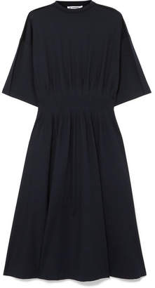 Jil Sander Gathered Stretch-cotton Jersey Midi Dress