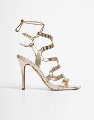 Express Metallic Swirl Caged Heeled Sandals