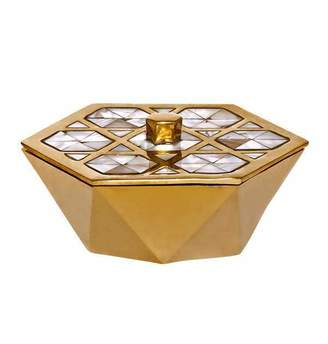 Mela Artisans Monroe Box in Brass & Mother of Pearl