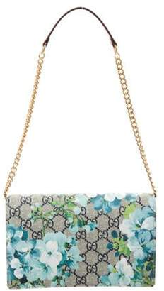 Gucci GG Supreme Blooms Wallet on Chain Blue GG Supreme Blooms Wallet on Chain