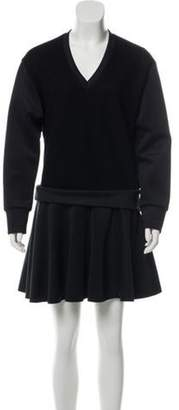 Neil Barrett Wool-Paneled Flared Dress w/ Tags Black Wool-Paneled Flared Dress w/ Tags
