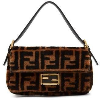 Fendi Baguette Logo Print Shearling Shoulder Bag - Womens - Black Brown