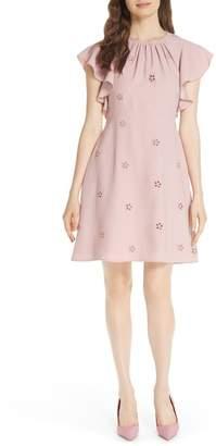 Kate Spade Eyelet Detail Ruffle Sleeve Crepe Dress
