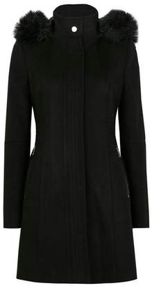 Wallis Black Duffle Fur Faux Wool Coat