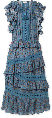 Sea Rosalie Ruffled Printed Cotton-blend Voile Midi Dress - Blue