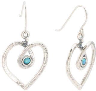 Made In Israel Sterling Silver Opal Open Heart Earrings