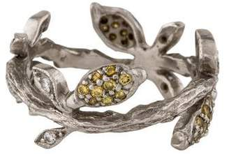 Cathy Waterman Lemon Branch Ring Platinum Diamond Leaf Band