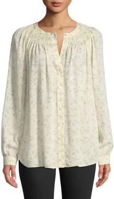 Vince Floral Silk Smocked Blouse