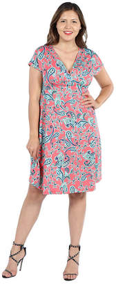 24/7 Comfort Apparel 24Seven Comfort Apparel Allie Short Sleeve Coral Pink Empire Waist Mini Dress - Plus