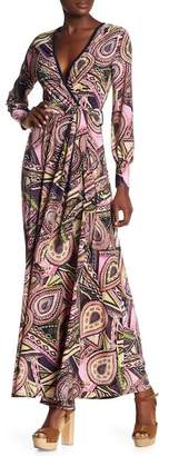 American Twist Long Sleeve Faux Wrap Maxi Dress