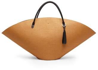Jil Sander Leather Trim Raffia Tote Bag - Womens - Brown