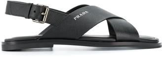 Prada side buckle flat sandals