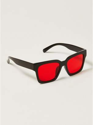 Topman Mens Black And Red Chunky Shiny Sunglasses