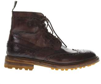 Green George Dark Brown Crust Leather Low Boots