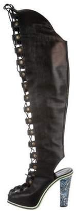 Rodarte Embossed Over-The-Knee Boots Black Embossed Over-The-Knee Boots