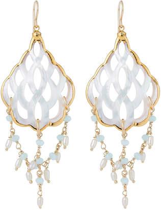 Devon Leigh Mother-of-Pearl Filigree & Aqua Dangle Earrings