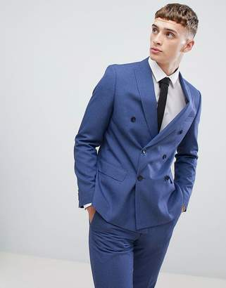 Moss Bros double breasted skinny suit jacket in blue