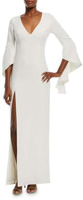 Halston Flounce-Sleeve V-Neck Gown