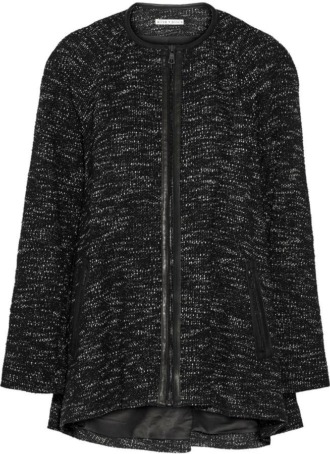 Alice + OliviaAlice + Olivia Alice + Olivia Kristy leather-trimmed tweed coat