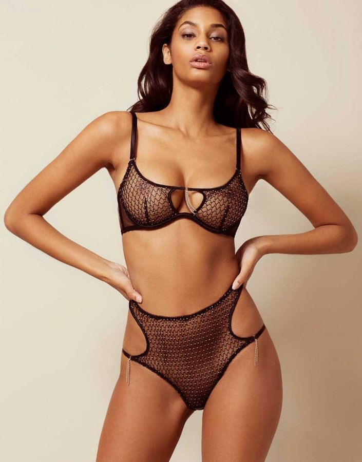 Agent ProvocateurMadge Big Brief Black And Silver