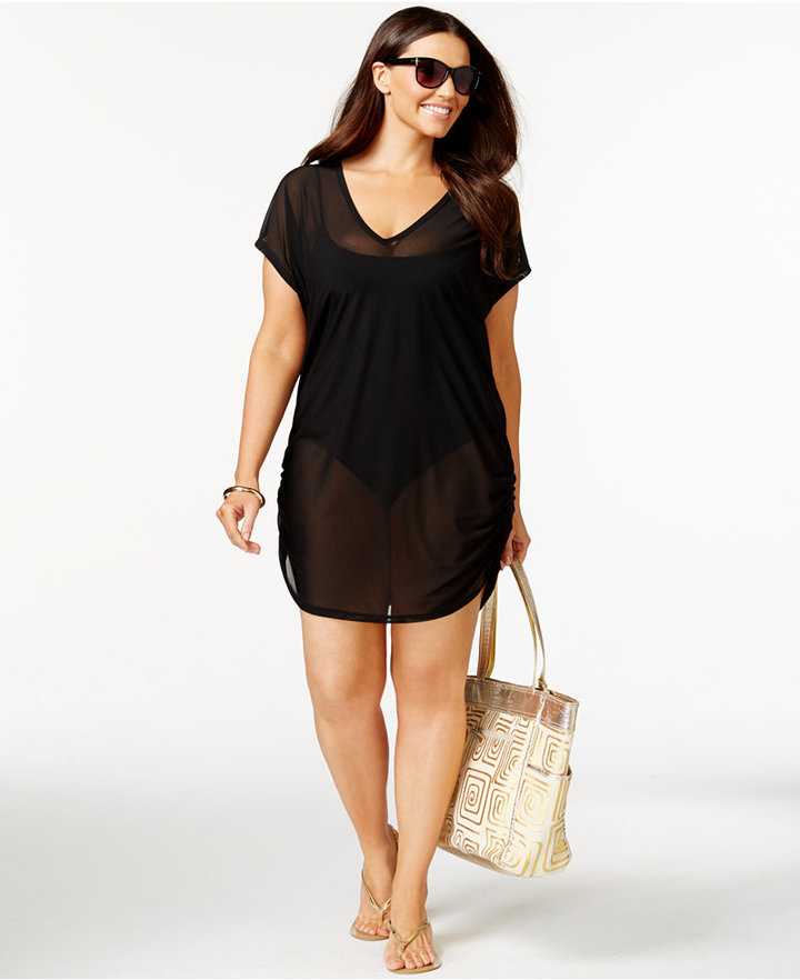 Anne ColeAnne Cole Plus Size Mesh V-Neck Cover-Up