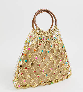 South Beach Exclusive natural beaded bag with wooden handle and bright beads
