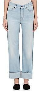 Fiorucci Women's Bella Colorblocked Straight Crop Jeans-Dk. Blue Size 24