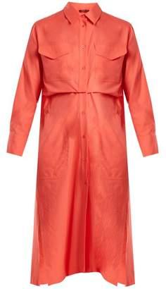 Sies Marjan - Mona Pleat Detail Cotton Shirtdress - Womens - Pink