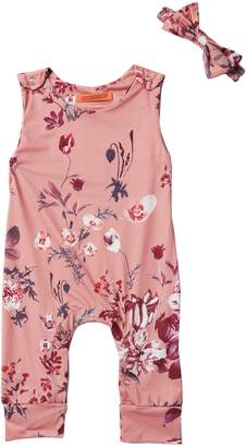 Funkyberry Floral Romper & Headband Set (Baby & Toddler Girls)