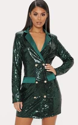 bf3b30fed701c PrettyLittleThing Emerald Green Sequin Button Detail Blazer Dress
