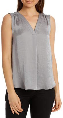 Basque Hot Price Bruised Poly V Neck Sleeve less Top