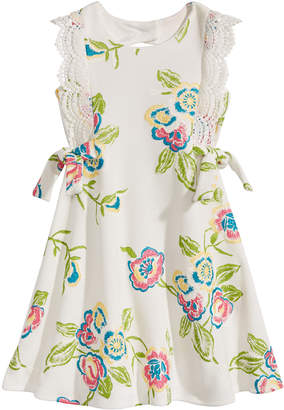 Bonnie Jean Floral-Print Venise Lace Dress, Toddler Girls