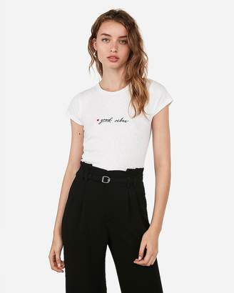 Express Good Vibes Embroidered Slim Tee
