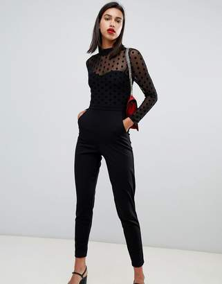 e5f705645f9c French Connection Lea Polka Dot Mesh Jumpsuit