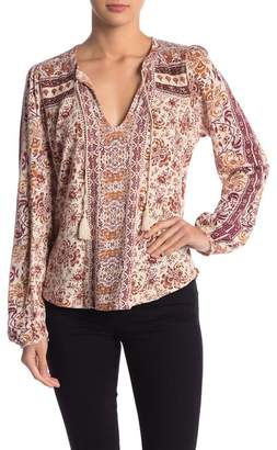 Lucky Brand Beaded Printed Peasant Blouse