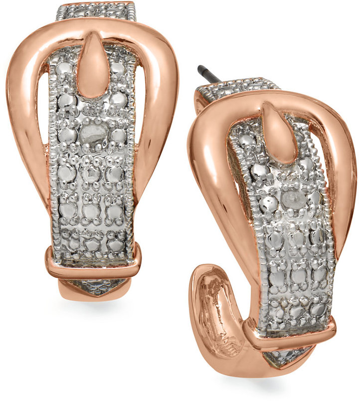 Townsend Victoria 18k Rose over Sterling Silver Diamond Accent Buckle Earrings