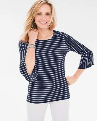 Glamour Striped Flutter-Sleeve Top