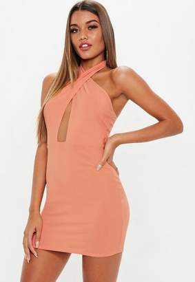 Missguided Terracotta Cross Front Halter Mini Dress