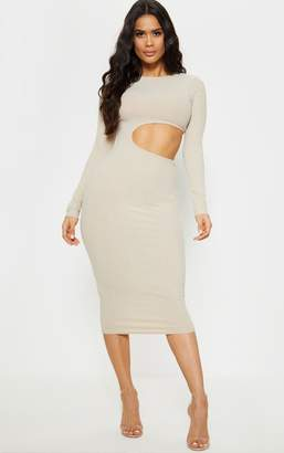 PrettyLittleThing Stone Ribbed Cut Out Long Sleeve Midi Dress
