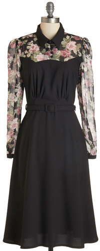 Collectif Clothing Cheery Cordial Dress in Long Sleeves - Black