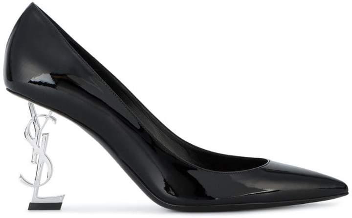 Saint Laurent Black Patent Silver Heel Opyum 85 Pumps