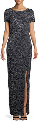 St. John Short-Sleeve Beaded Santana-Knit Gown