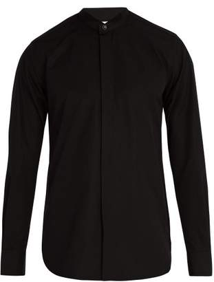 Saint Laurent Wing Collar Cotton Poplin Tuxedo Shirt - Mens - Black