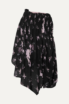 Preen Line Sumin Asymmetric Floral-print Crepe De Chine Skirt - Black