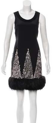 J. Mendel Fox Fur-Trimmed Silk Dress