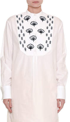 Valentino Embroidered Long Cotton Tunic