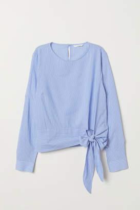 H&M Modal-blend Tie-front Blouse - Blue
