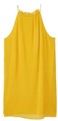 MANGO Textured ruffled dress