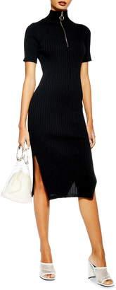 Topshop Ribbed Zip-Up Sweater Dress
