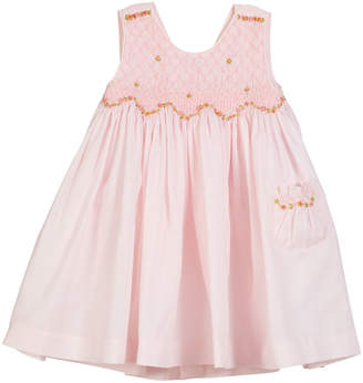 Luli & Me Smocked Floral Embroidered Dress, Size 2-4T
